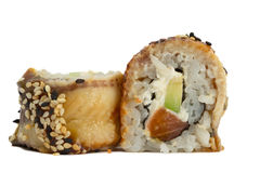 Eel sushi roll isolated on white background Stock Photography