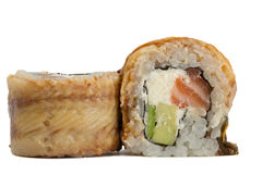 Eel sushi roll isolated on white background Stock Images
