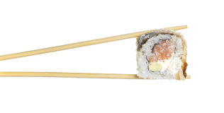 Eel sushi roll sushi roll in chopsticks isolated Stock Photo