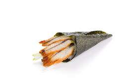 Eel sushi temaki isolated Royalty Free Stock Photos