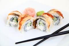 Eel sushi.  Traditional japanese sushi rolls Stock Image