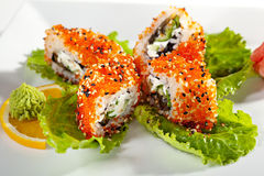 Eel and Tobiko Roll Royalty Free Stock Photography