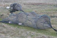 Eel Traps. On a beach near Norsminde, Denmark Royalty Free Stock Photography