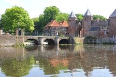 Eem river and ancient town wall,Amersfoort,Holland Stock Image