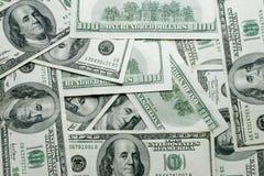 Een 100 dollar rekeningentextuur Stock Foto's