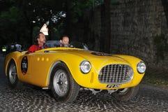Een 1952 Gele Ferrari 225 de Uitvoer Tuboscocca Stock Afbeeldingen