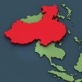 Een 3D kaart van China Stock Afbeelding