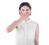 Een aantrekkelijk meisje is vermoeid, droefheid en pessimistisch, geïsoleerd op een witte achtergrond royalty-vrije stock foto