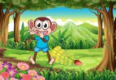 Een aap bij het bos met bananen Stock Afbeelding