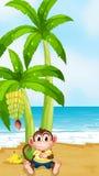 Een aap die onder de banaaninstallatie bij het strand rusten royalty-vrije illustratie