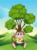 Een aap die onder de boom bij de heuveltop fronsen vector illustratie