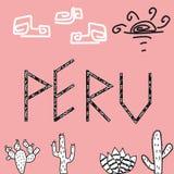 Een aardig beeld met een pen en cactusinschrijving royalty-vrije illustratie