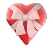 Een aardig hart met lint en booggift Stock Foto's