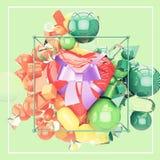 Een aardig hart met lint en booggift kleurrijk glanzend milieu Royalty-vrije Stock Afbeeldingen
