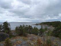 Een aardige mening in archipel in de golf van Finland Stock Foto