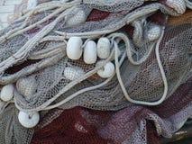 Een abstract beeld van vlotters en netten voor visserij Stock Afbeelding