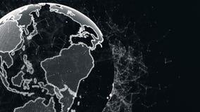 Een abstracte aarde met een rond structuur van vlecht en deeltjes Planeet van digitale abstracte technologieën stock video