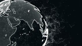 Een abstracte aarde met een rond structuur van vlecht en deeltjes Planeet van digitale abstracte technologieën stock footage