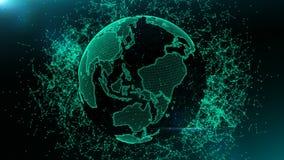 Een abstracte aarde met een rond structuur van vlecht en deeltjes Planeet van digitale abstracte technologieën stock videobeelden
