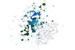 Een abstracte achtergrondwaterverfillustratie die een onvolledige mandala afschilderen vulde met een willekeurige stroom van donk royalty-vrije illustratie