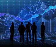Een abstracte Forex grafiekruimte in blauw met mensen siluet Stock Fotografie