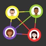 Een abstracte illustratie van sociale verbindingen tussen mensen Kleurrijk, vlak ontwerp stock illustratie