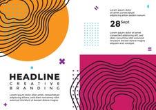 Een abstracte lijnkunst met oranje en purpere magenta dekking stock illustratie