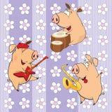 Een achtergrond met varkens naadloos patroon vector illustratie