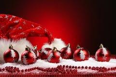 Een achtergrond van de samenstelling van het Kerstmisspeelgoed Royalty-vrije Stock Afbeeldingen