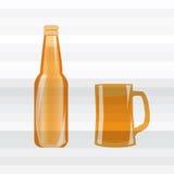 Een affiche met een fles en een mok bier Royalty-vrije Stock Fotografie