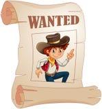 Een affiche van een gewilde jonge cowboy Stock Foto