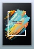 Een affichemalplaatje voor kunstkoffie, kunsttentoonstellingen Een moderne kleurrijke affiche Heldere gradiëntkwaststreken Verfgr royalty-vrije illustratie
