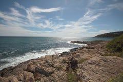Een afgezonderde baai in het Middellandse-Zeegebied, Frankrijk Royalty-vrije Stock Afbeelding