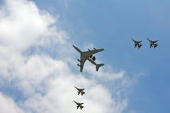 Een airshow van kostbare vliegtuigen Stock Afbeelding