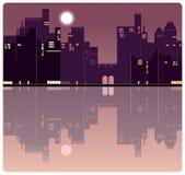 Een Amerikaanse achtergrond van de avondstad vector illustratie