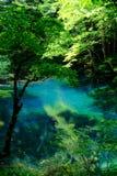 Een andere Blauwe vijver in Juniko, Japan stock afbeeldingen