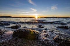 Een andere overweldigende Zweedse zonsondergang royalty-vrije stock foto's