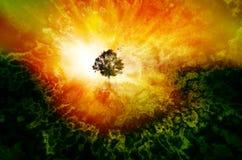 een andere wereld in het conceptenart. van de dromenboom Royalty-vrije Stock Afbeeldingen