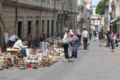 Een antiquiteitenmarkt in oud Montpellier Stock Afbeeldingen