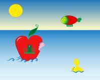 Een appel op het overzees Stock Afbeelding
