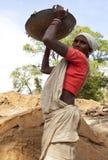 Een arbeider in landelijk India Stock Foto