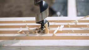 Een arbeider zaagt van een kettingzaag houten Raad De bouw van het huis stock footage
