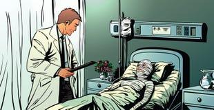 Een arts die aan een vrouwelijke patiënt spreken die in het ziekenhuis liggen Stock Foto