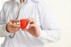 Een arts die met stethoscoop rode hartgezondheidszorg en medisch concept onderzoeken stock afbeeldingen