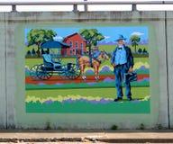 Een Arts Making een Muurschildering van de Huisvraag op James Road in Memphis, Tennessee Stock Foto
