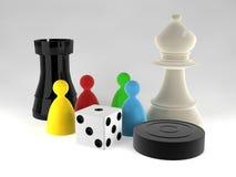 Een assortiment van boardgamestukken Royalty-vrije Stock Afbeeldingen