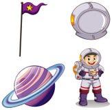 Een astronaut, een planeet, een banner en een helm stock illustratie