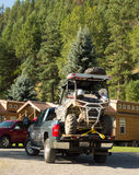 Een atv laadde op een oogstvrachtwagen Royalty-vrije Stock Fotografie