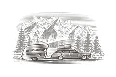 Een auto met de zwart-wit illustratie van de kampeerautoaanhangwagen Gelaagd geïsoleerde vector, stock foto