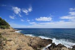 Een baai in het Middellandse-Zeegebied, Nice, Frankrijk Stock Afbeelding